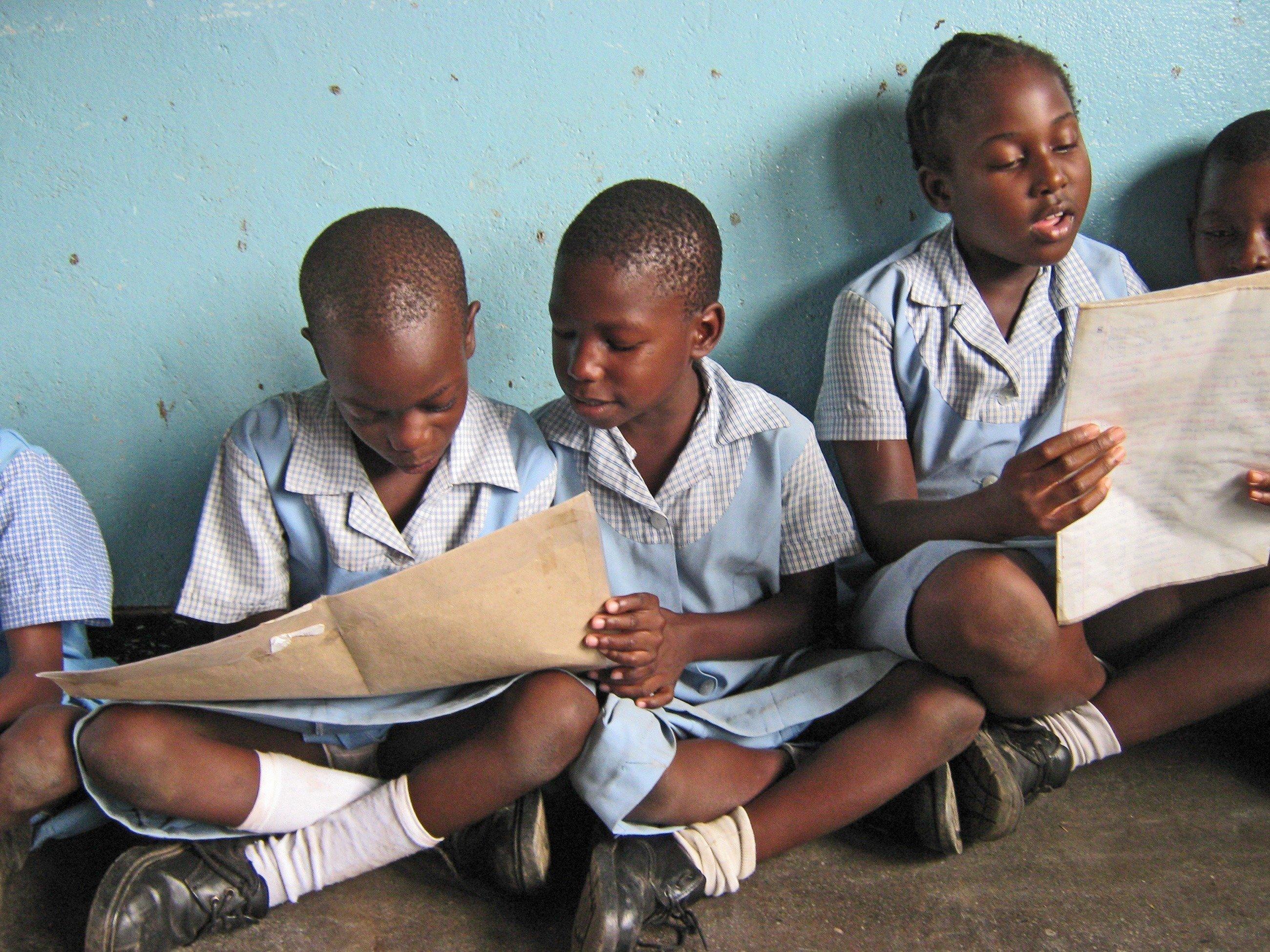 Mädchen in blauen Kleider lesen in einem Heft.