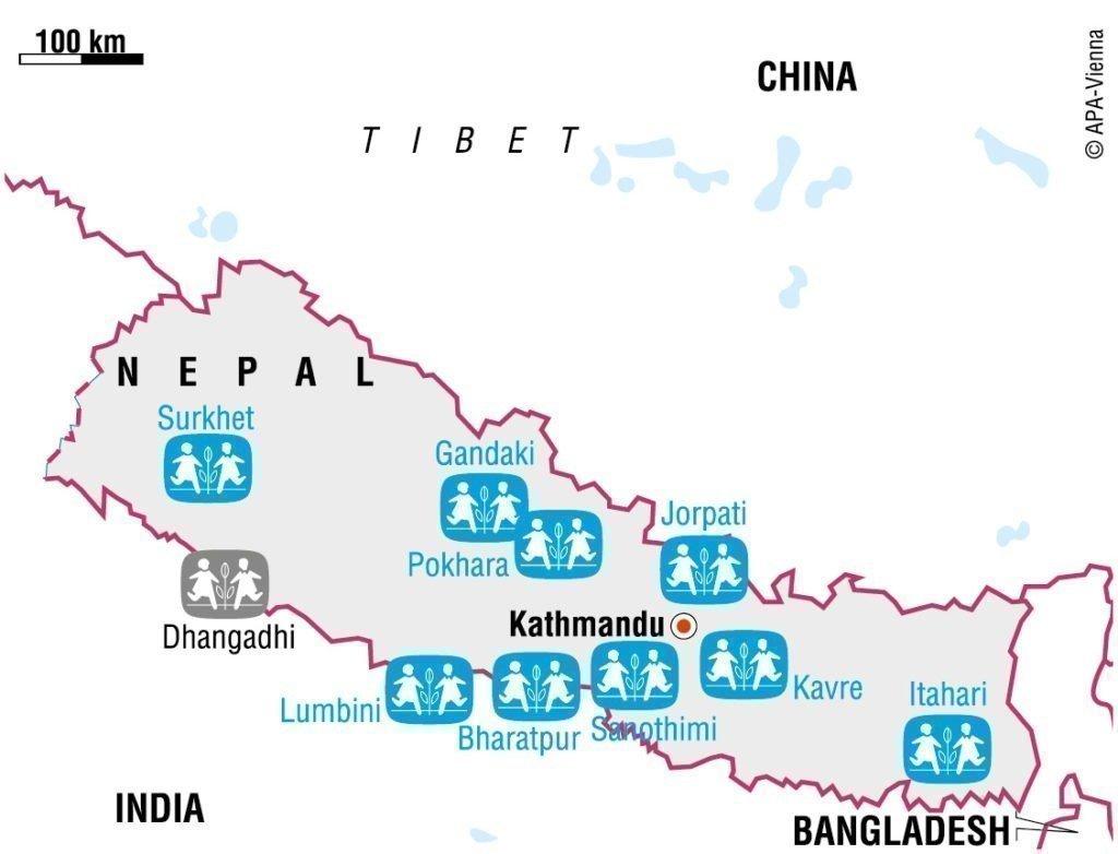 SOS-Kinderdorf Nepal Karte