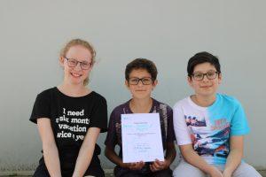 Les trois élèves de l'oberstufe Sonnenhof à Wil